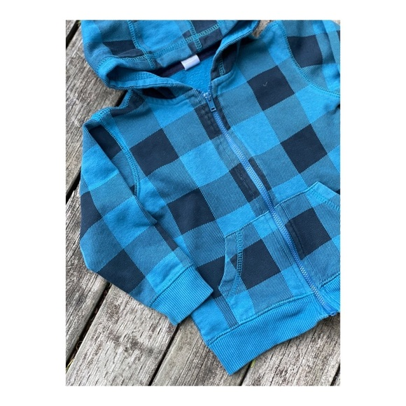 5/$25 Blue Plaid Check Hooded Sweater Cardigan 24M